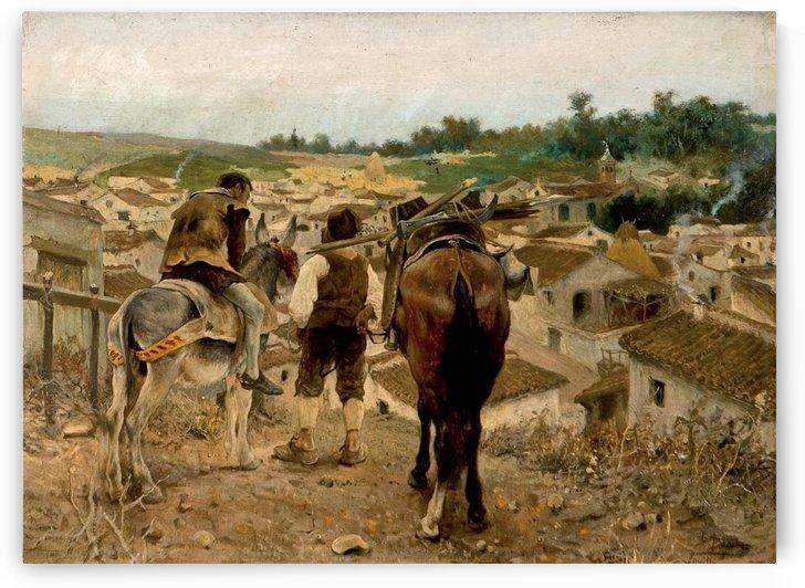 Don Quijote y Sancho vuelven al pueblo by Jose Jimenez Aranda