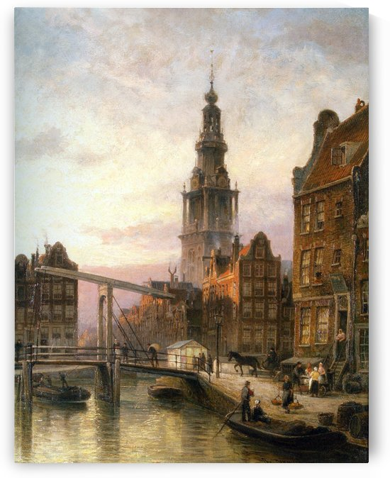 The Zuider Kerk at Dusk, Amsterdam by Cornelis Christiaan Dommelshuizen
