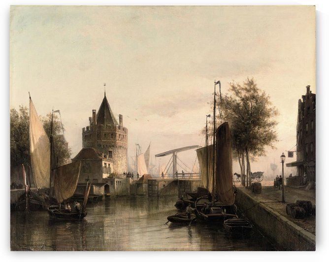 View of Amsterdam, with the Schreierstoren by Cornelis Christiaan Dommelshuizen