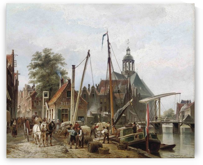 Unloading a barge on a Rotterdam quay by Cornelis Christiaan Dommelshuizen