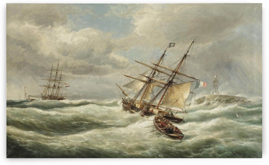 Rain on the sea by Cornelis Christiaan Dommelshuizen