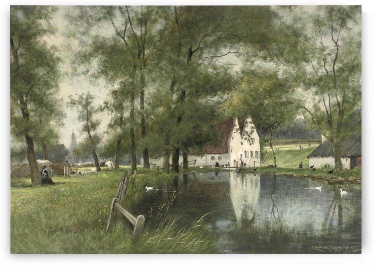 Lake near city by Cornelis Christiaan Dommelshuizen