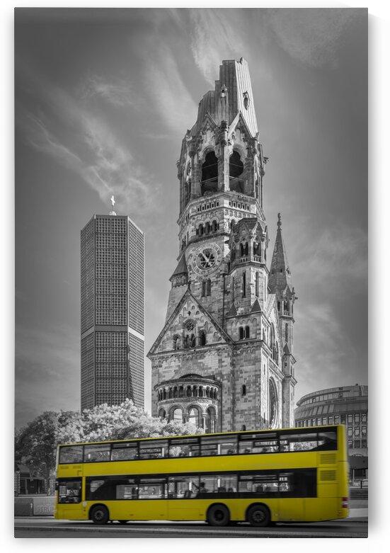 BERLIN Kaiser Wilhelm Memorial Church with bus   colorkey by Melanie Viola