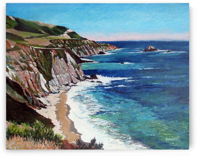 Beach with Turquoise Sea near Cliffs by Rick Bayers