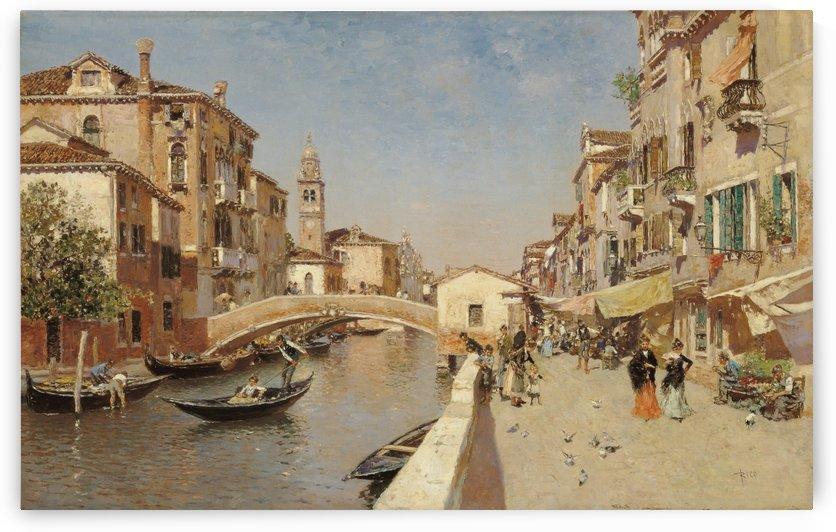 River with the Campanile of San Giorgio dei greci by Martin Rico y Ortega