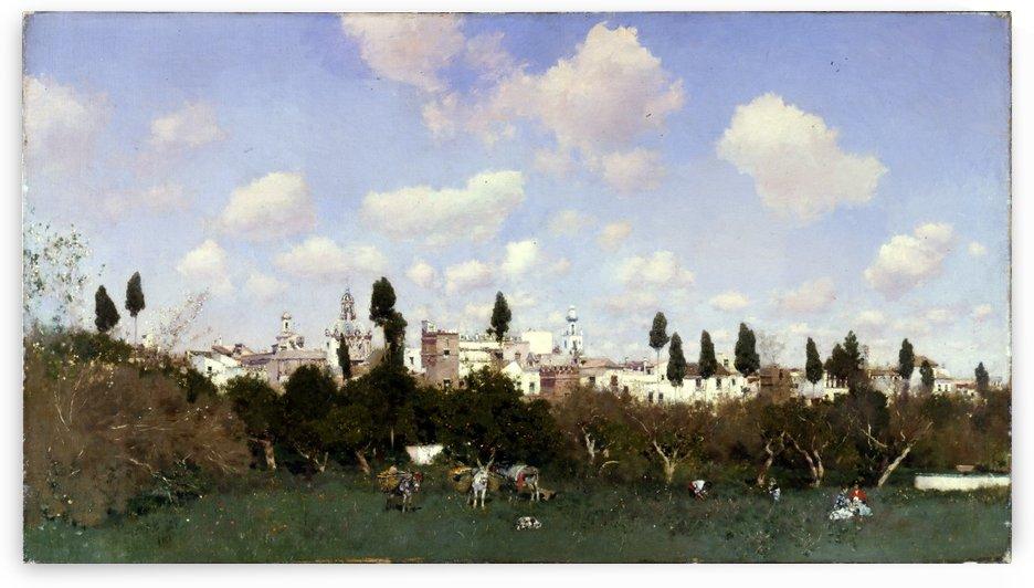 A field near the city by Martin Rico y Ortega