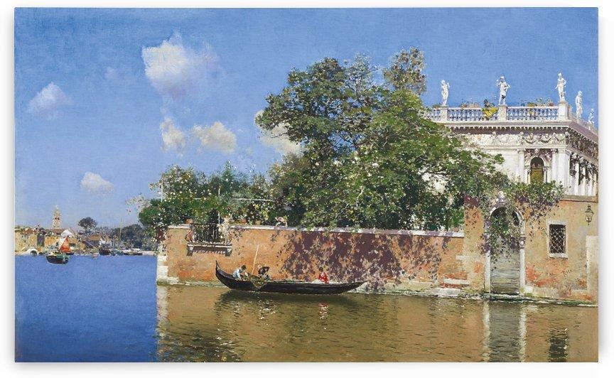 Boat on the river by Martin Rico y Ortega