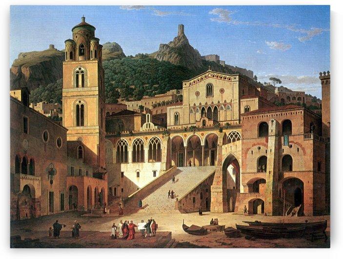 A monastery on a hill by Martin Rico y Ortega