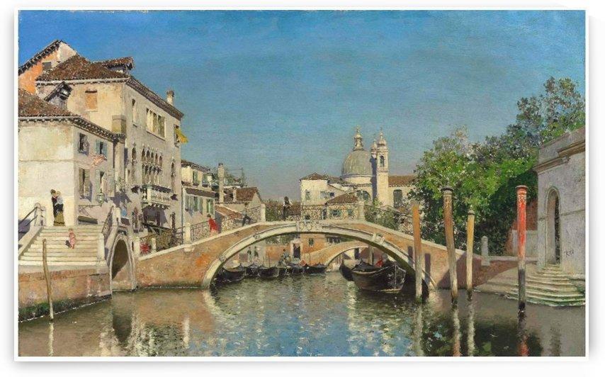 A Venetian canal with gondolas by Martin Rico y Ortega