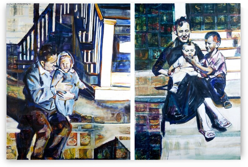 Louisiana father and Mother at the Stairs Diptych with Vintage Recipe Collage by Caroline Youngblood
