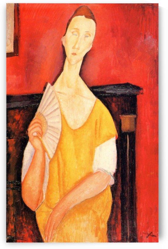 Modigliani - Portrait of Lunia Czechowska with fan -2- by Modigliani