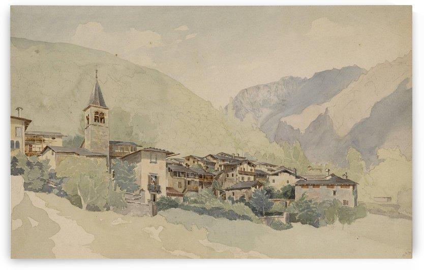 Dorf in einer Gebirgslandschaft by Thomas Ender