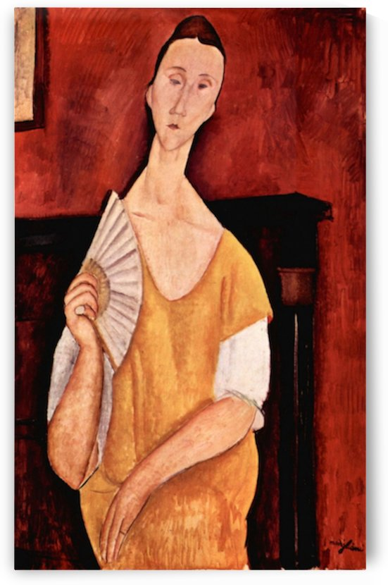Modigliani - Portrait of Lunia Czechowska with fan by Modigliani