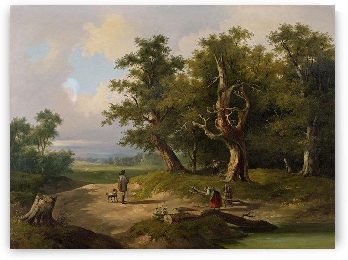 Landschaft mit Wanderern und Reisigsammlern by Thomas Ender