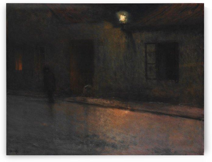 Ulice s chodcem by Jakub Schikaneder