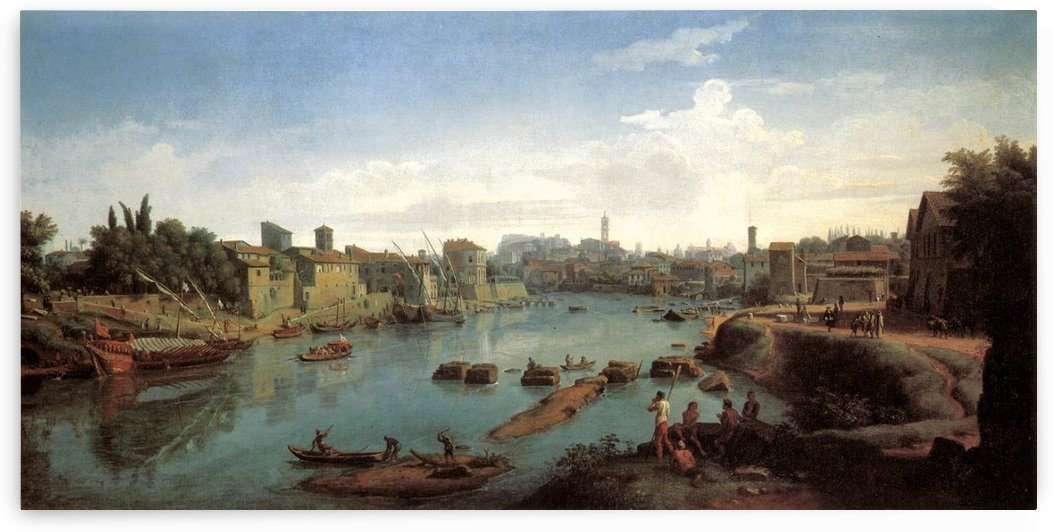 Tiber near the Porto di Ripa Grande by Caspar van Wittel