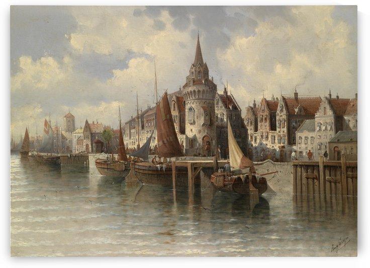 Blick auf eine Hafenstadt by August von Siegen