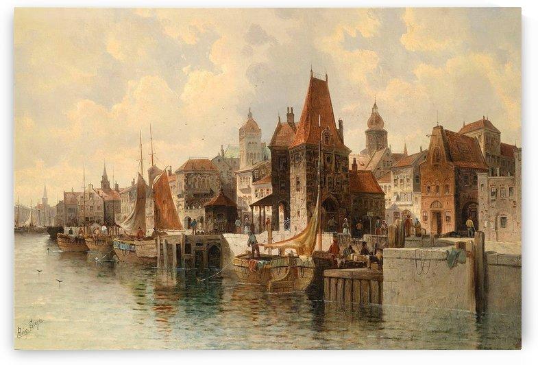Stadt am fluss by August von Siegen