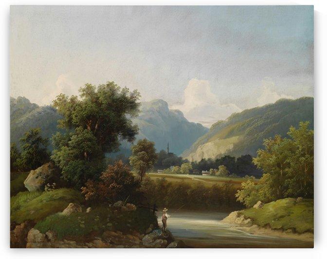 Fishing in the mountains by August von Siegen