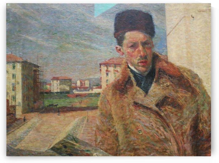 Self Portrait with hat by Umberto Boccioni