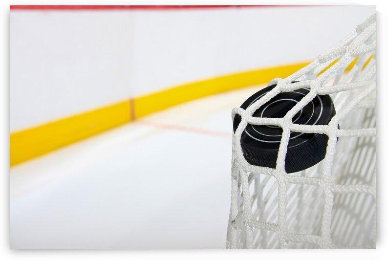Hockey Puck Bulges Twine Photo by Jonathan Kozub