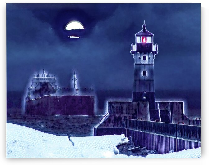 Duluth Moonlight Arrival Painting by Jonathan Kozub