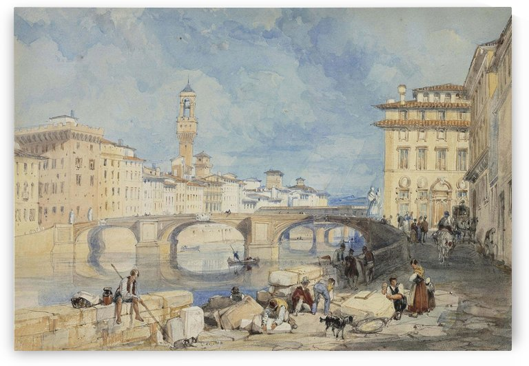 Ponte Santa Trinita Florence by James Duffield Harding
