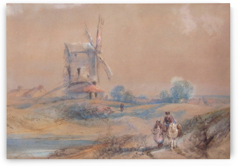 Windmill in country landscape by James Duffield Harding