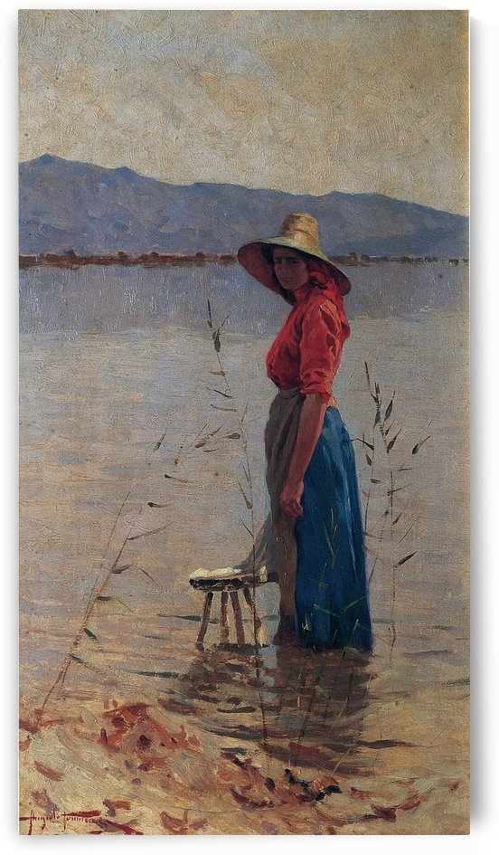 A woman by the river by Angiolo Tommasi