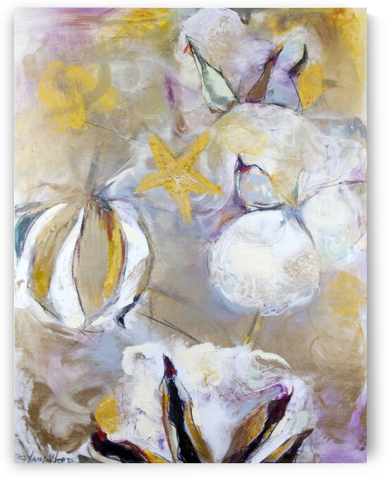 Louisiana Cotton White Gold Abstraction by Caroline Youngblood