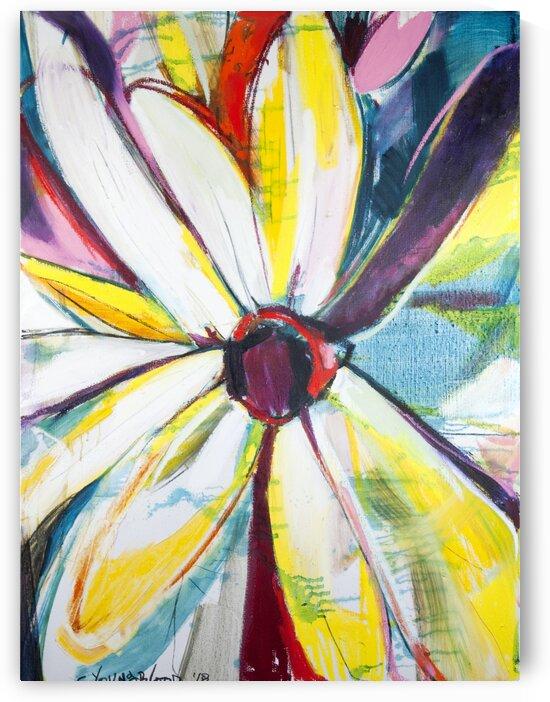 Louisiana Zinnias Triptych Panel III by Caroline Youngblood