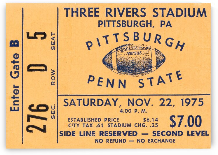 1975 pittsburgh penn state football ticket artwork by Row One Brand