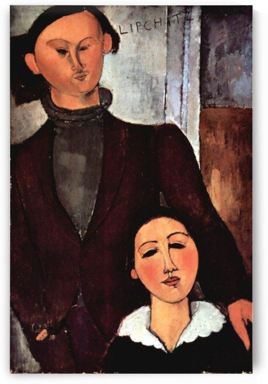 Modigliani - Portrait of the married couple Lipchitz by Modigliani