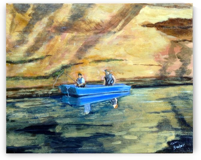 fishin on the little sandy by Tami Booher Appalachian Nature Painter