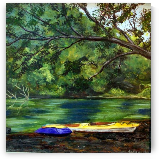 kayaking on the little sandy by Tami Booher Appalachian Nature Painter
