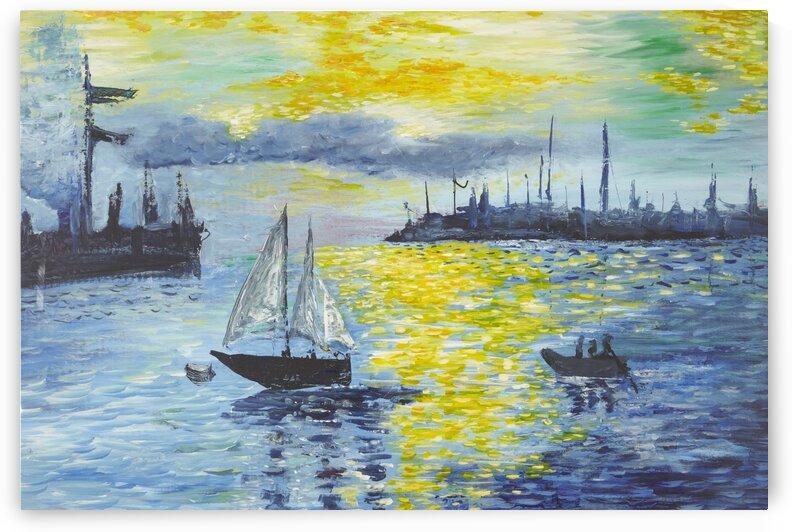 Sunset on Harbor. by Martine Harris