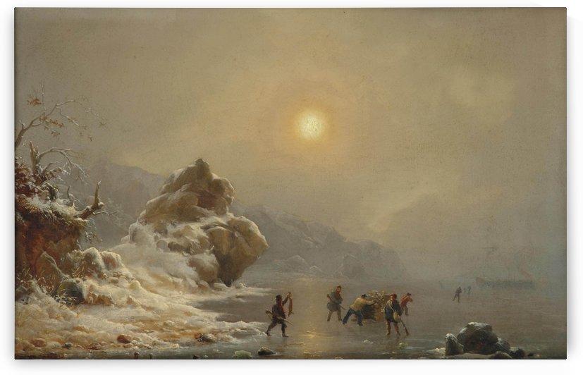 Eine Winterlandschaft mit Jagern auf dem Eis by Andreas Achenbach