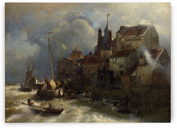 Coastal scene by Andreas Achenbach