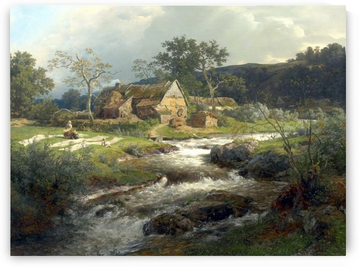 Landschaft mit Bauernhaus und Wildbach by Andreas Achenbach