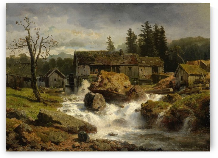 Die Muhle by Andreas Achenbach