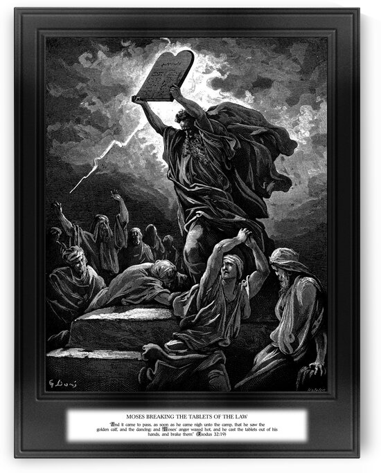 Moses Breaking The Tablets Of The Law Engraving by Hotelin Old Masters Classical Fine Art Reproduction by xzendor7