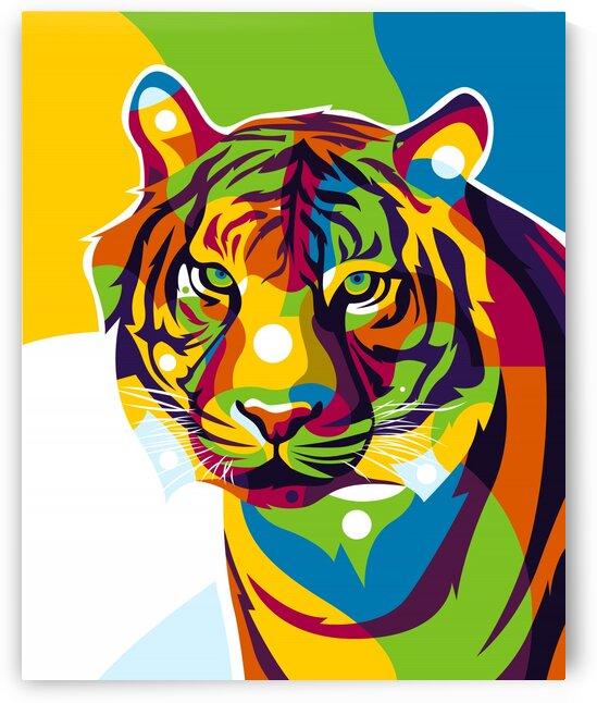 The Colorful Tiger Face Pop Art Portrait by wpaprint