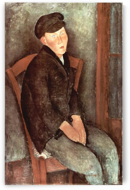 Modigliani - Sitting boy with hat by Modigliani