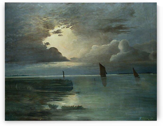 Sonnenuntergang am Meer by Andreas Achenbach