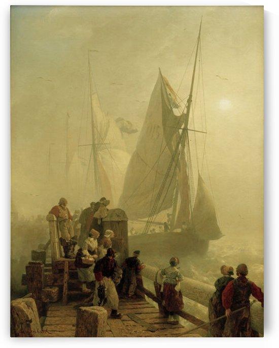 Einlaufende Schiffe by Andreas Achenbach
