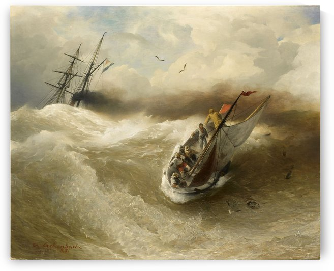Boat in trouble by Andreas Achenbach