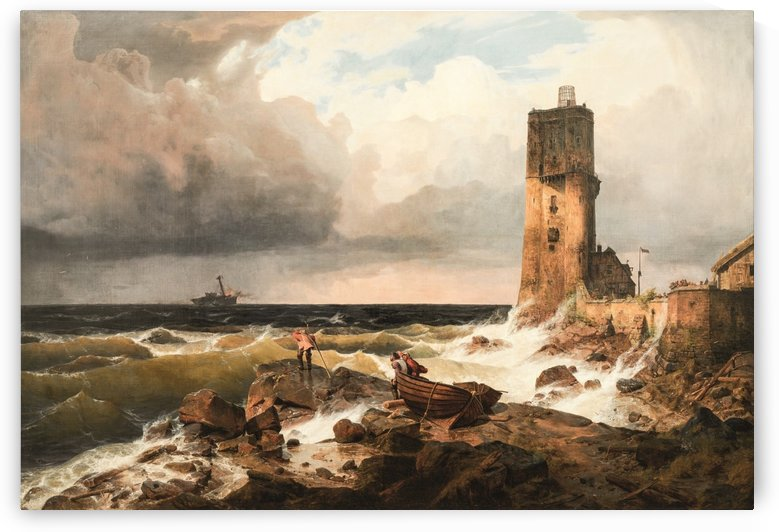 Castle by the sea by Andreas Achenbach