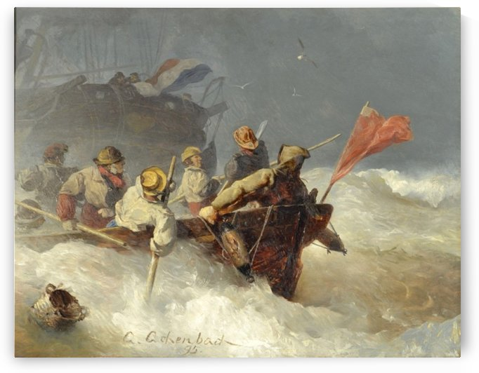 People leaving a boat by Andreas Achenbach