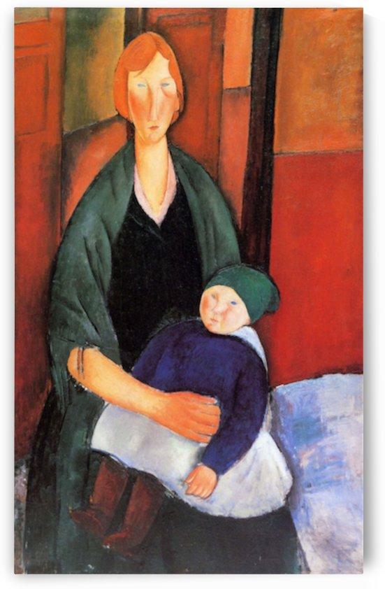 Modigliani - Sitting woman with child by Modigliani