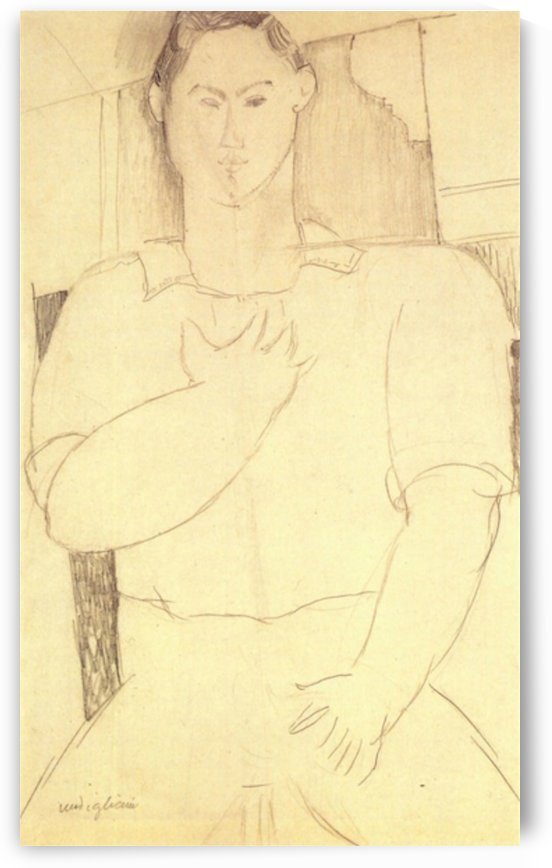Modigliani - Sitting young man by Modigliani